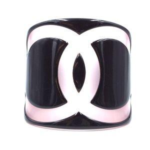 Black Pink Rare Large Wide Cc Cuff Bangle Bracelet